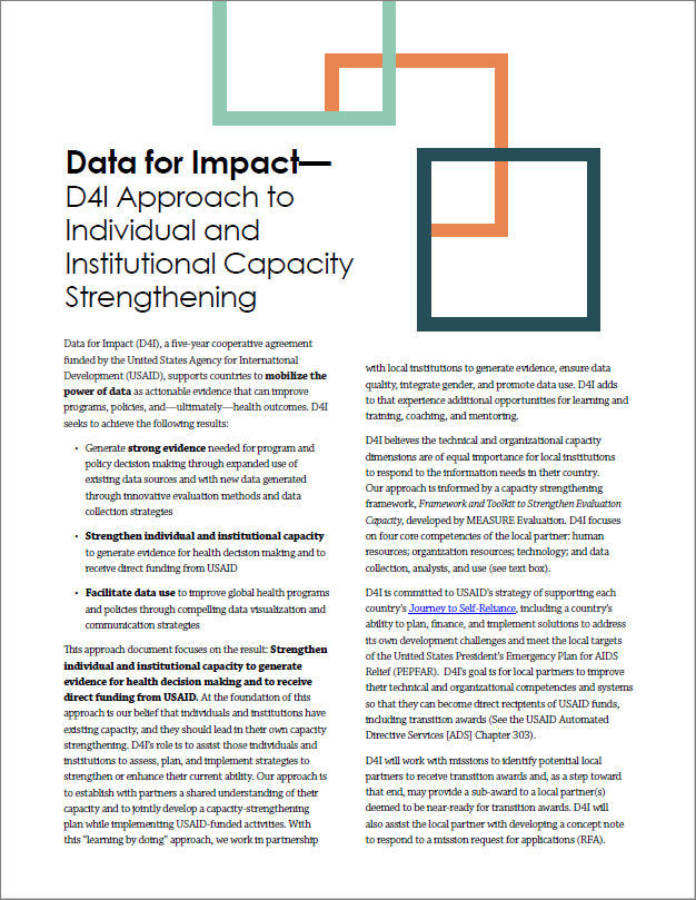 Data for Impact approach to institutional capacity strengthening