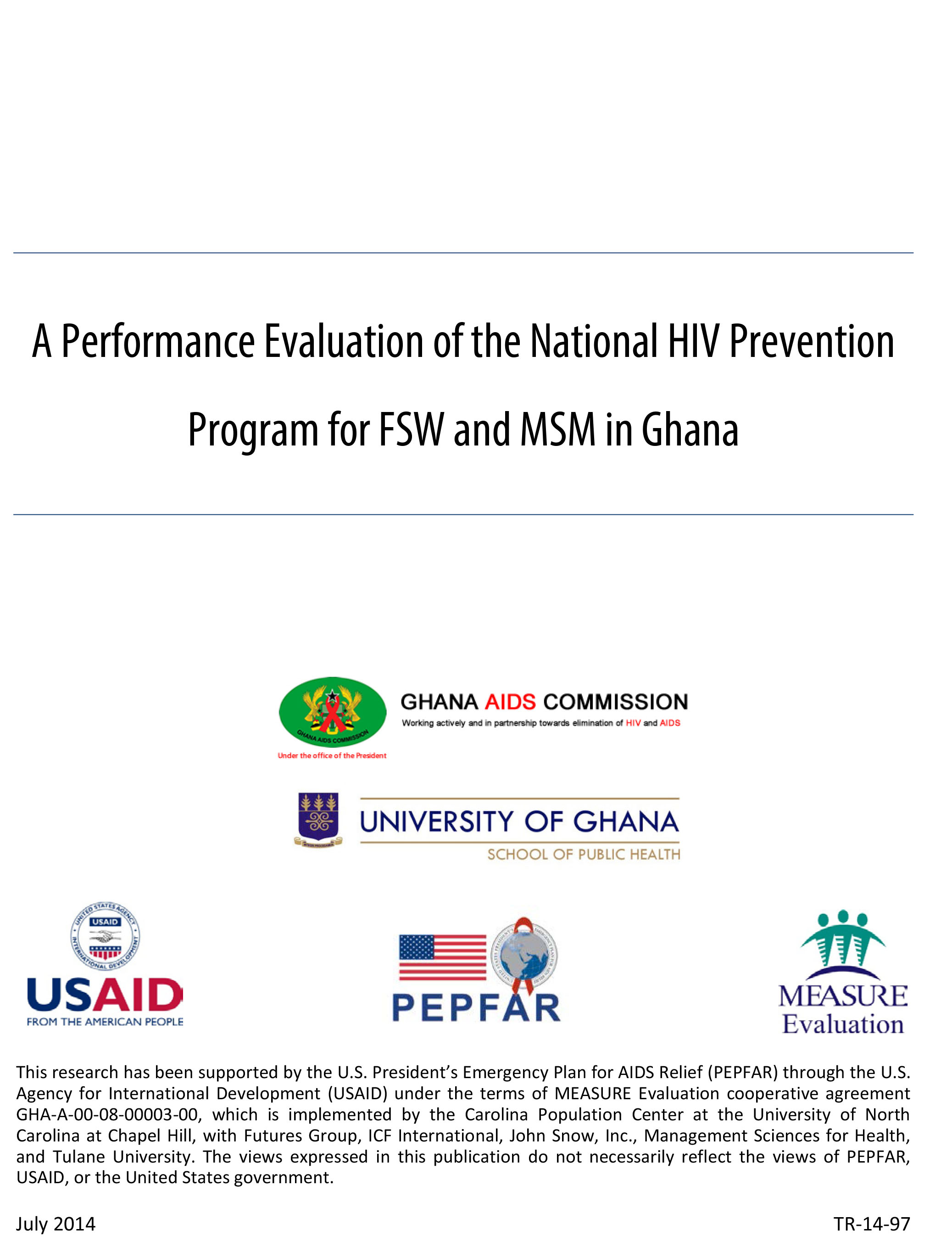 A Performance Evaluation of the National HIV Prevention Program for FSW and MSM in Ghana