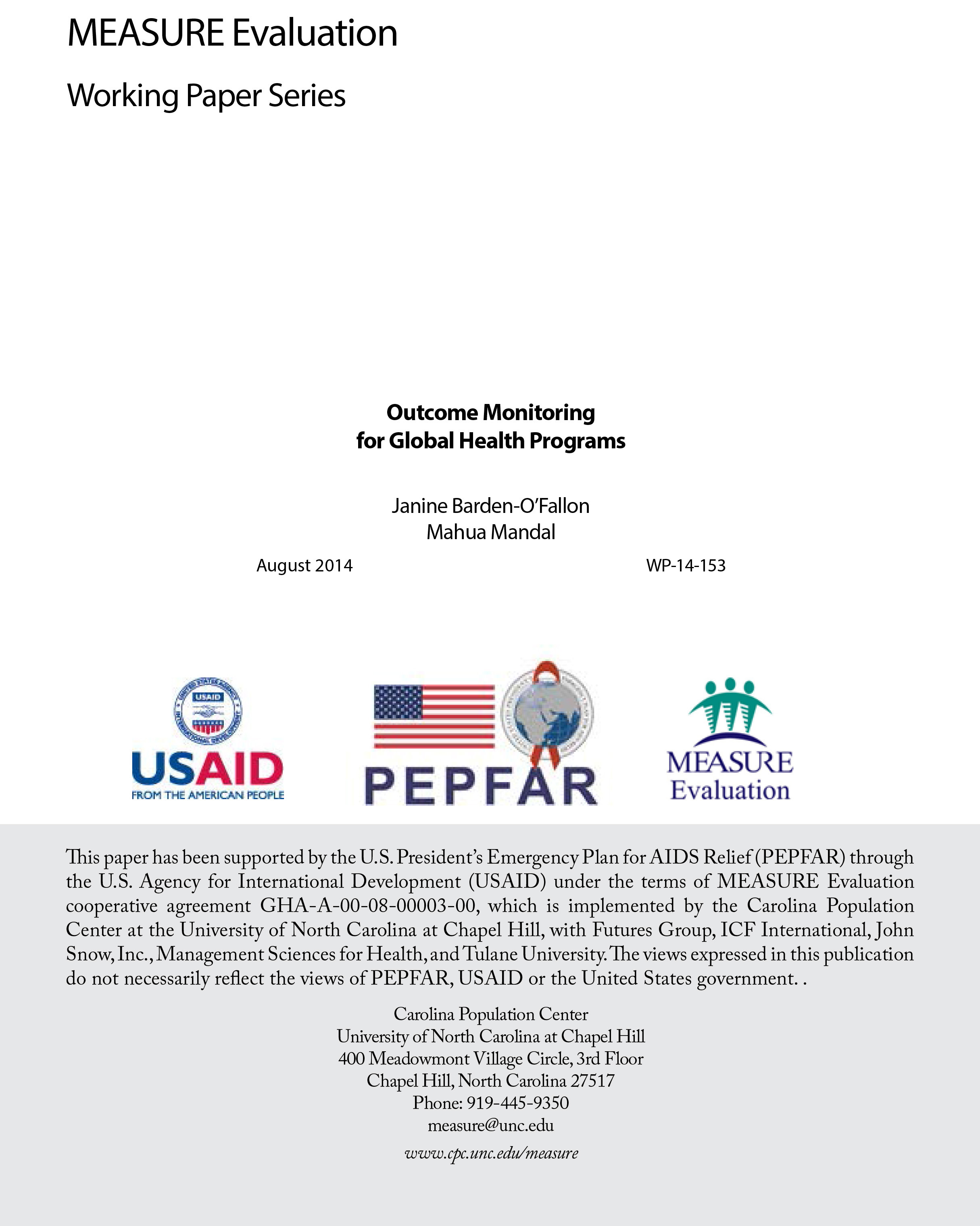 Outcome Monitoring for Global Health Programs