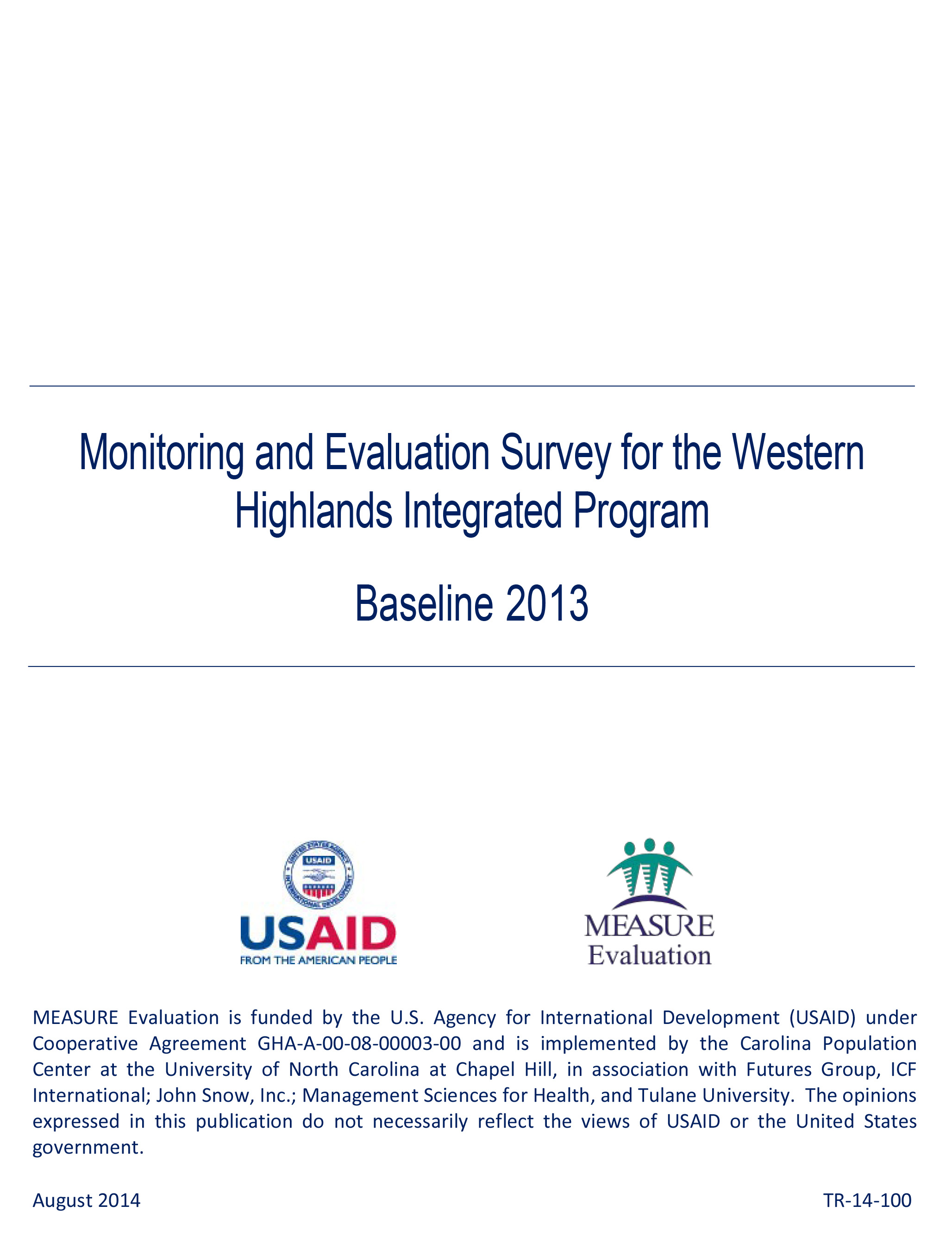 Monitoring and Evaluation Survey for the Western Highlands Integrated Program