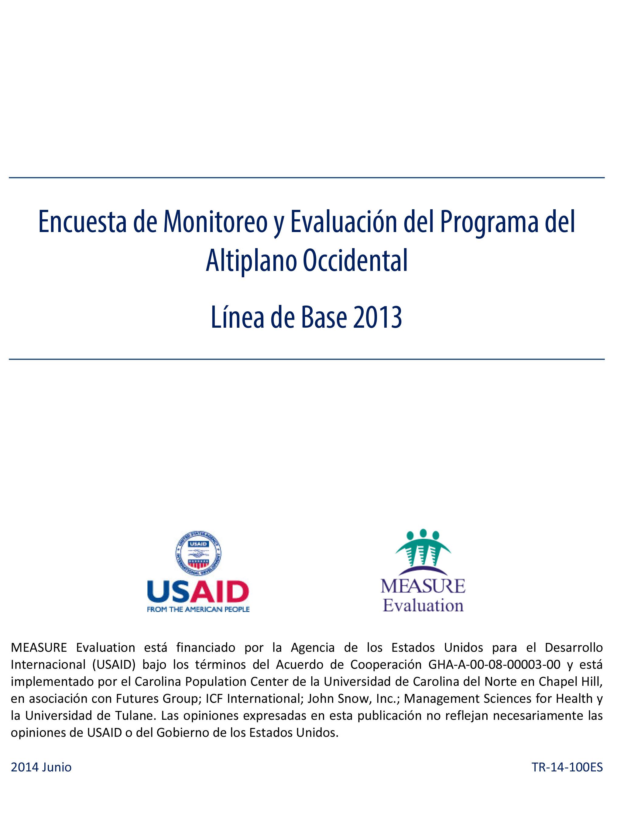 Encuesta de Monitoreo y Evaluacin del Programa del Altiplano Occidental