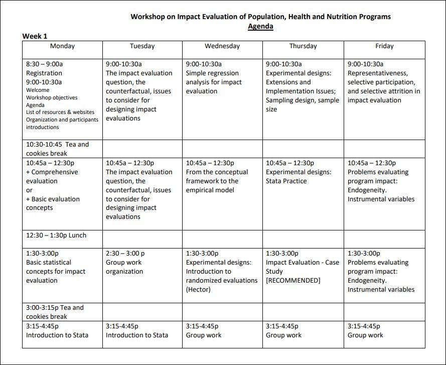 Workshop Materials: Impact Evaluation of Population