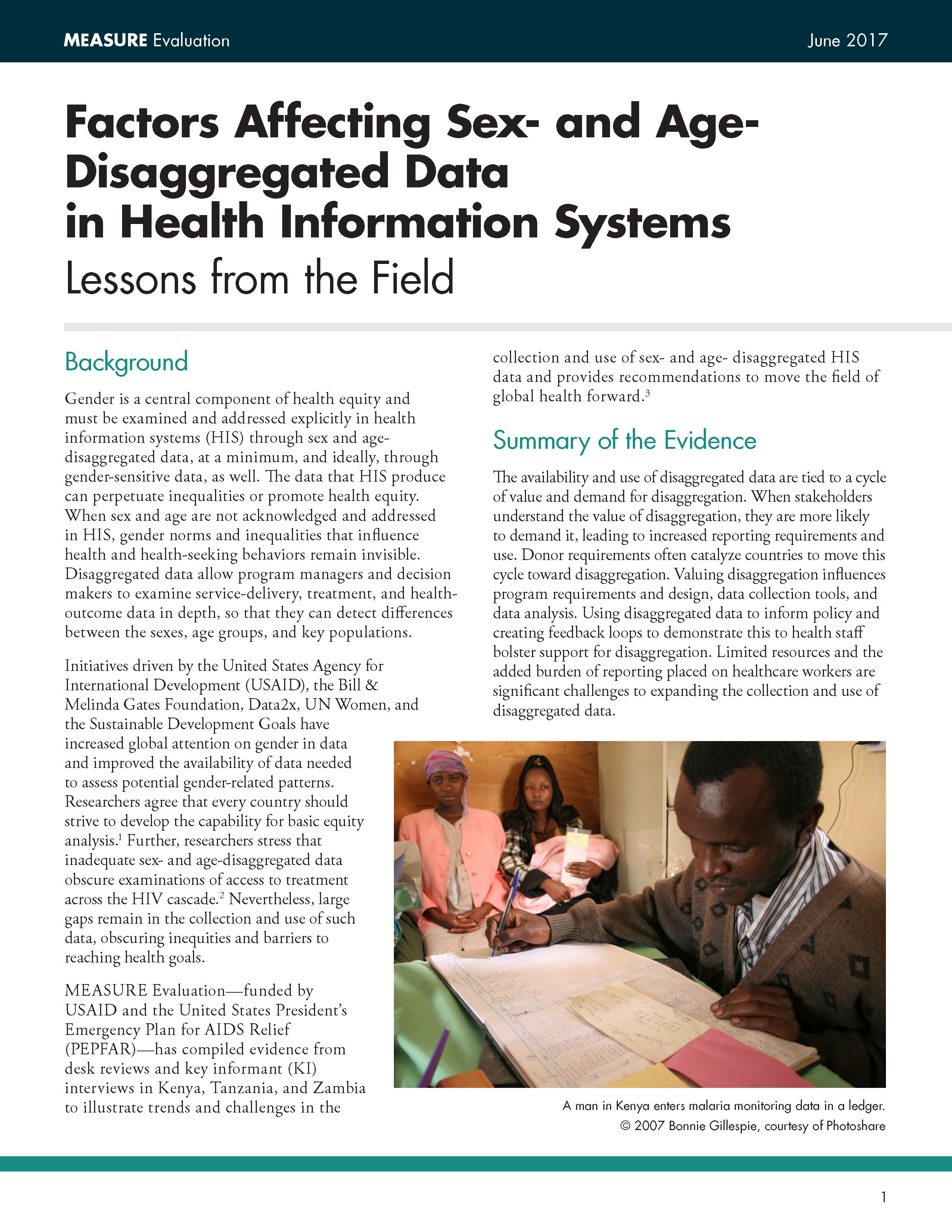 Factors Affecting Sex- and Age-Disaggregated Data in Health Information Systems  Lessons from the Field