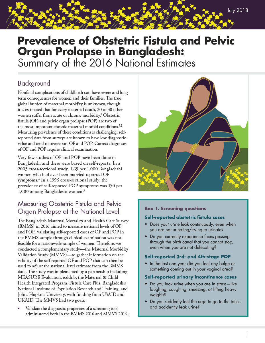 Prevalence of Obstetric Fistula and Pelvic Organ Prolapse in Bangladesh: Summary of the 2016 National Estimates
