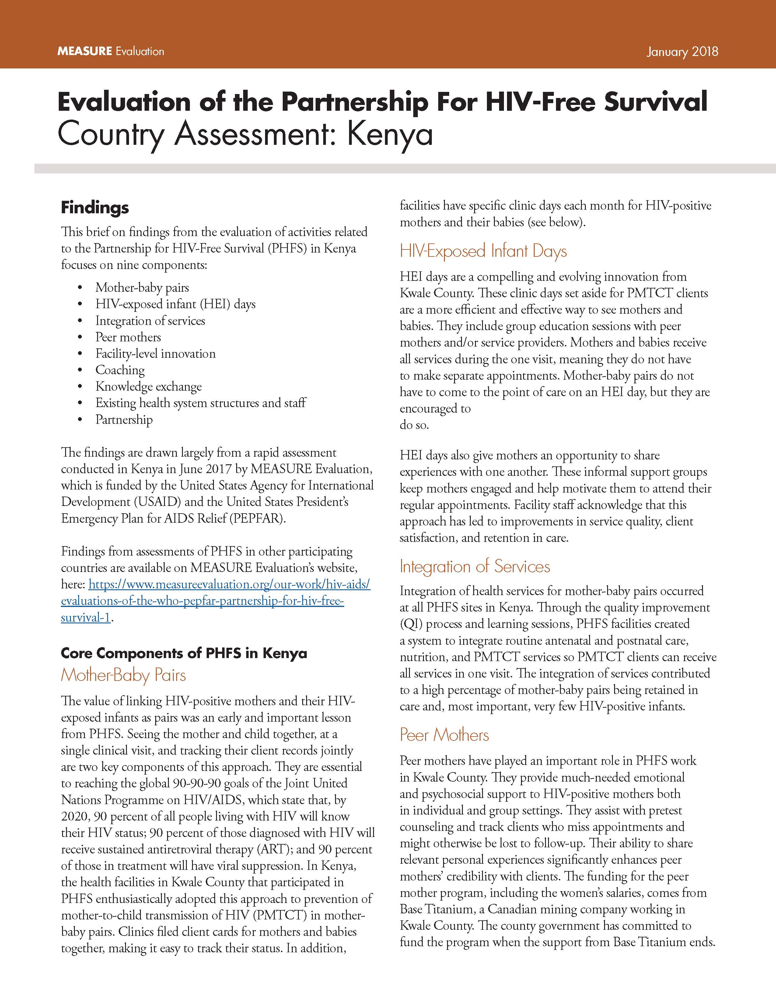 Evaluation of the Partnership For HIV-Free Survival Country Assessment: Kenya