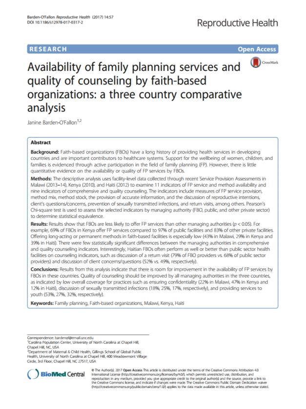 Availability of family planning services and quality of counseling by faith-based organizations: a three country comparative analysis