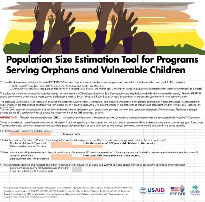 Population Size Estimation Tool for Programs Serving Orphans and Vulnerable Children