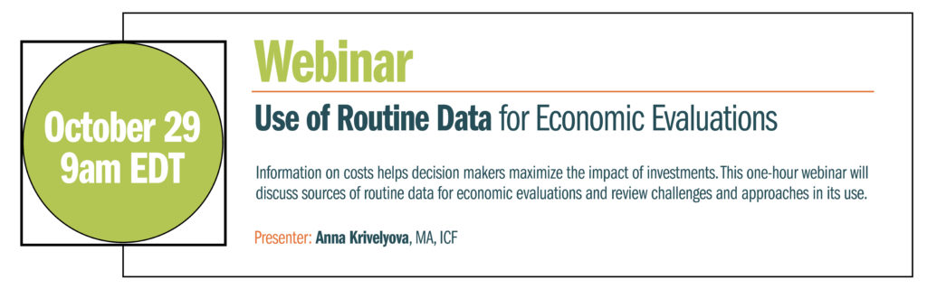 Webinar on use of routine data for economic evaluations