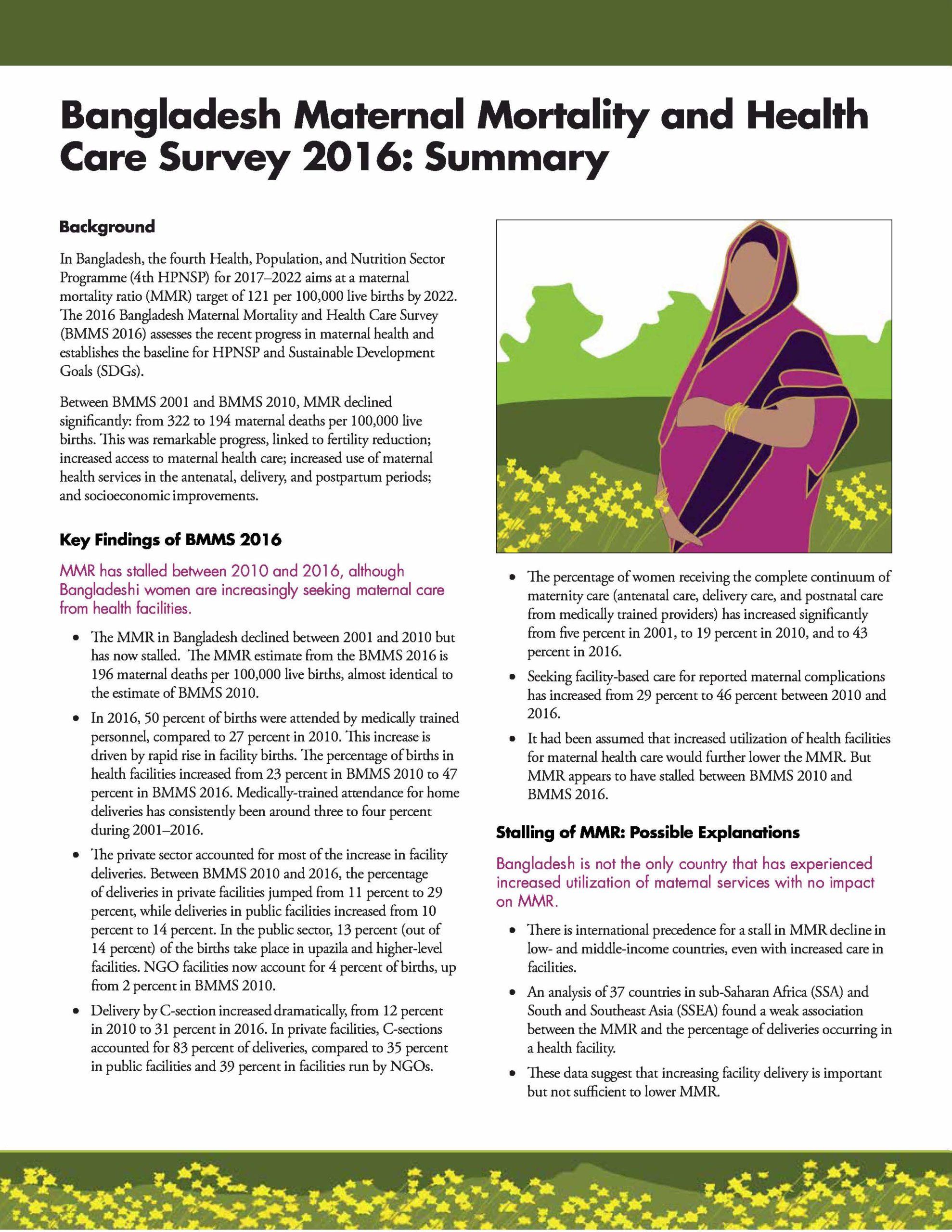 Bangladesh Maternal Mortality and Health Care Survey 2016: Summary