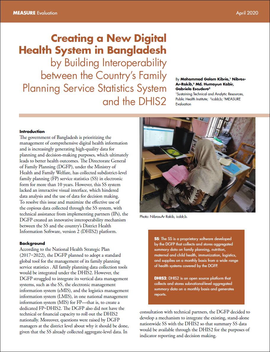 Creating a New Digital Health System in Bangladesh by Building Interoperability between the Countrys Family Planning Service Statistics System and the DHIS2