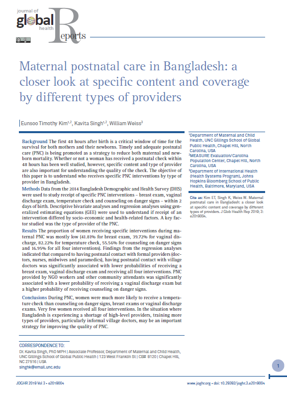 Maternal postnatal care in Bangladesh: a closer look at specific content and coverage by different types of providers