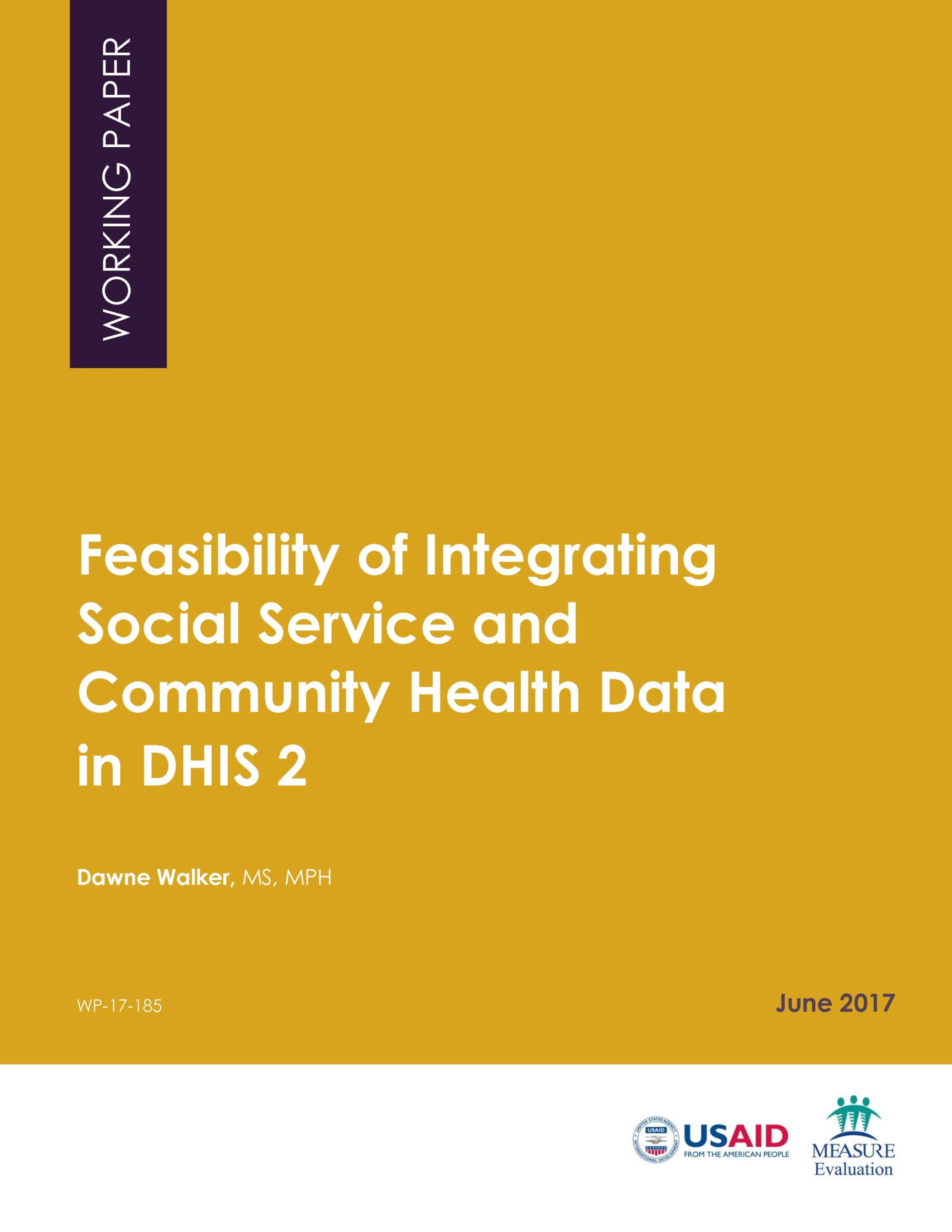 Feasibility of Integrating Social Service and Community Health Data in DHIS 2