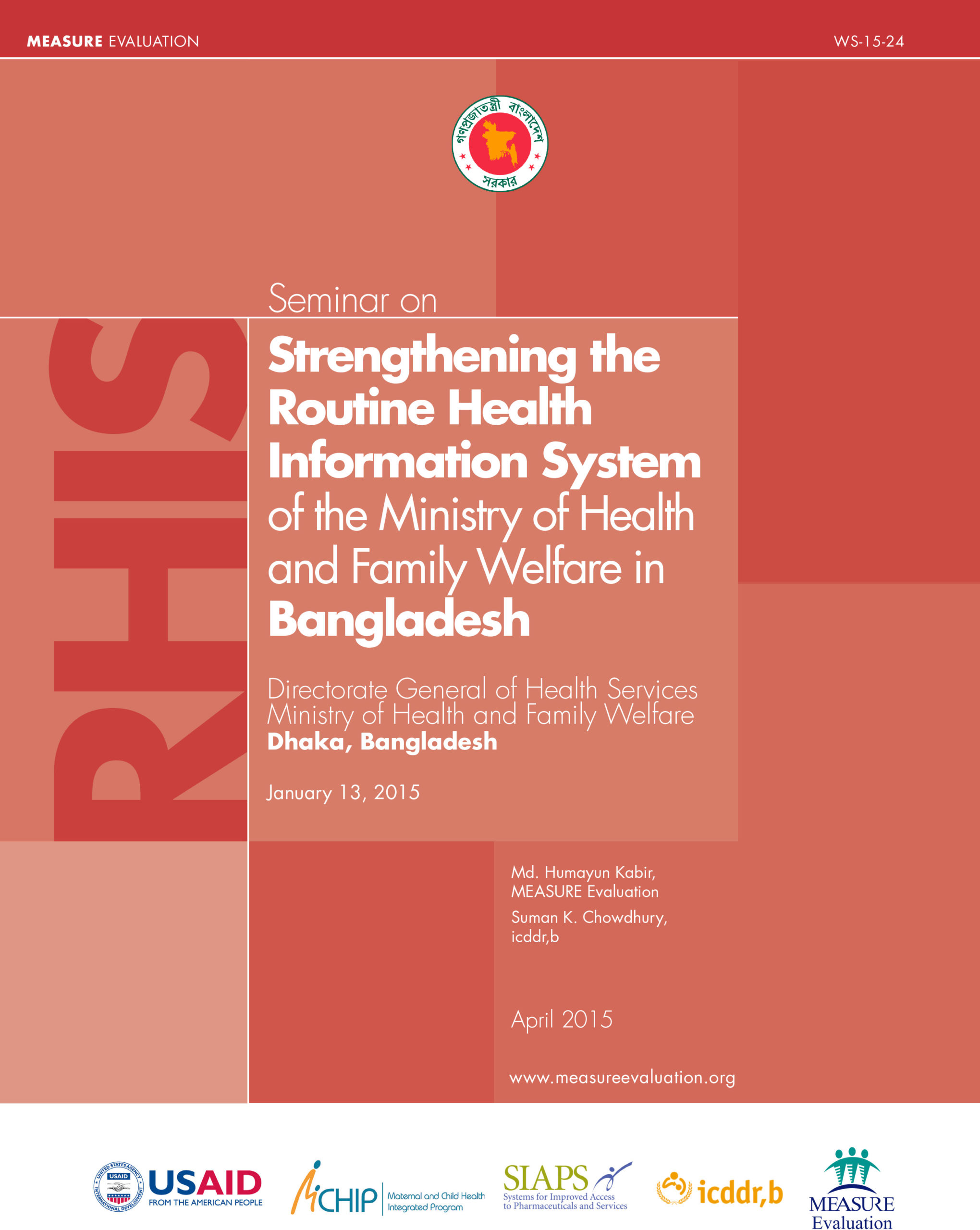 Seminar on Strengthening the Routine Health Information System of the Ministry of Health and Family Welfare in Bangladesh