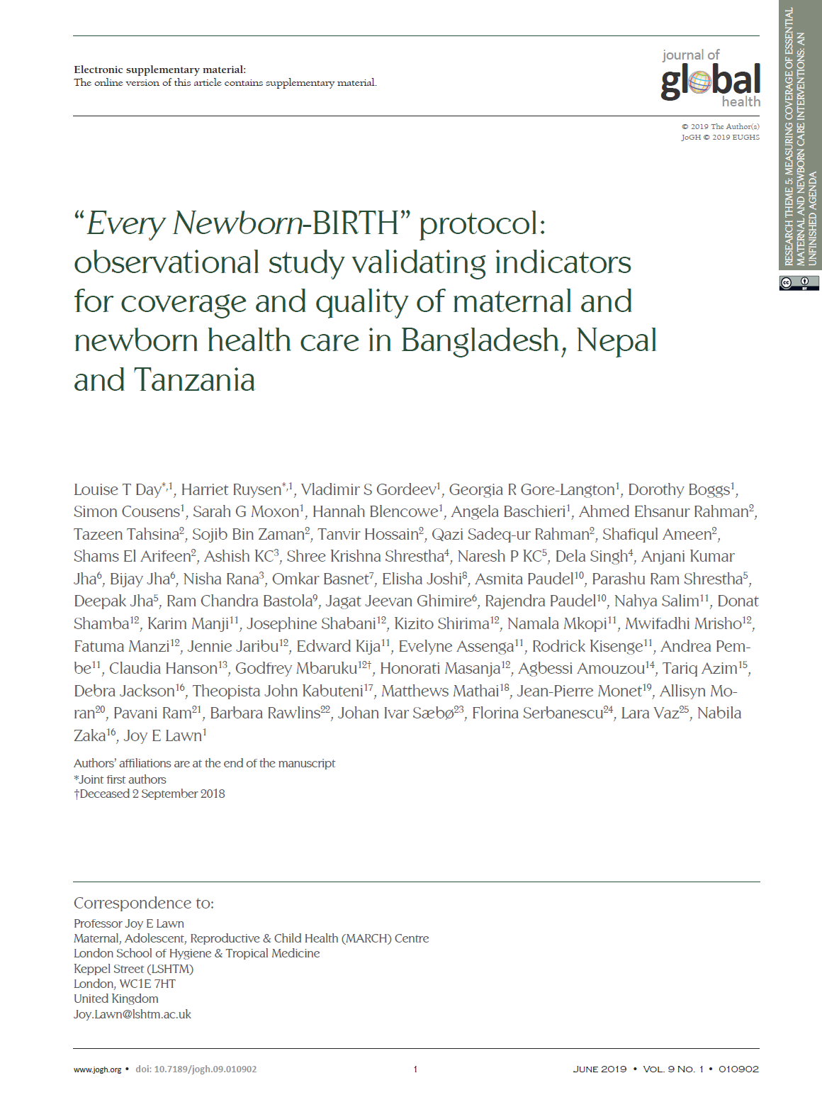 Every Newborn-BIRTH protocol: observational study validating indicators for coverage and quality of maternal and newborn health care in Bangladesh