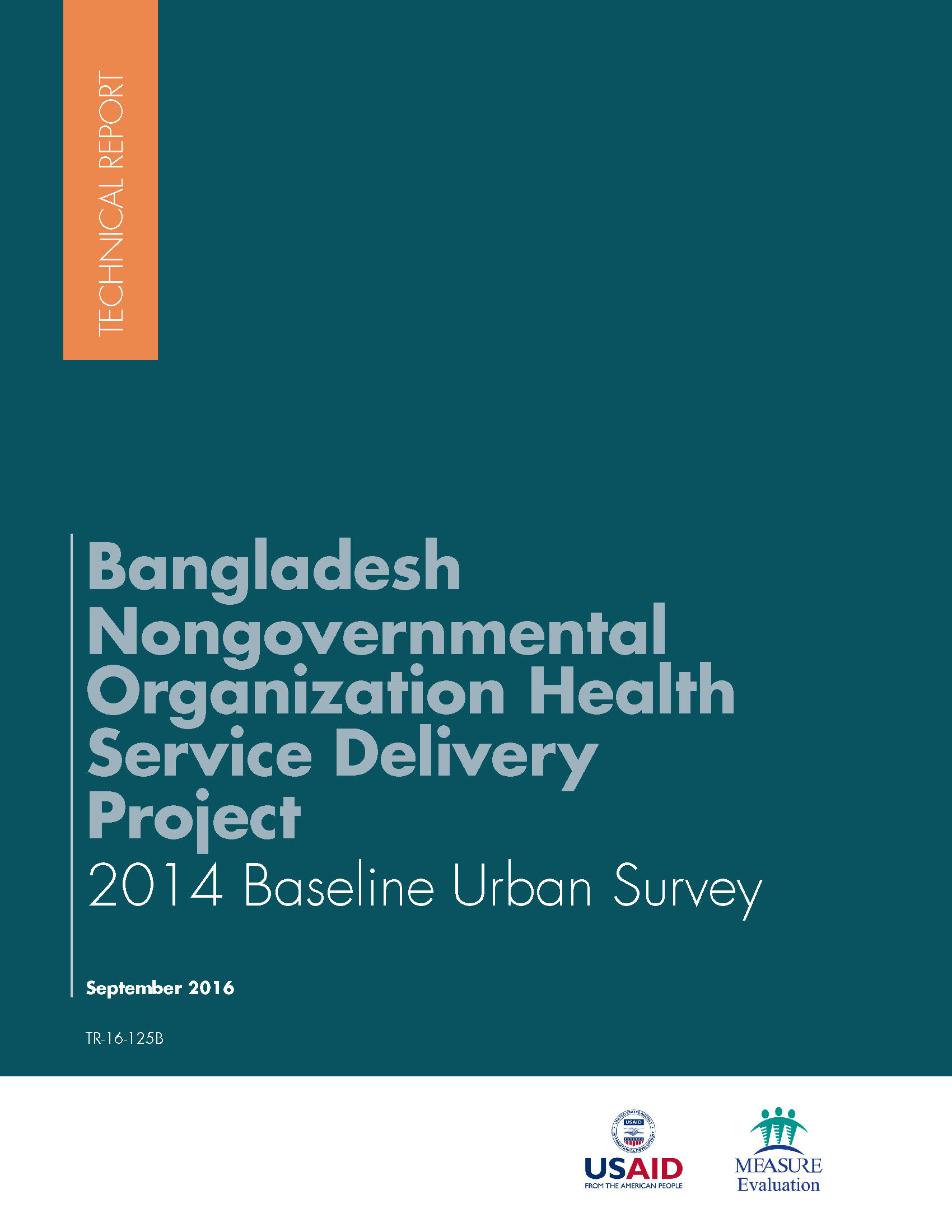Bangladesh Nongovernmental Organization Health Service Delivery Project 2014 Baseline Urban Survey Report