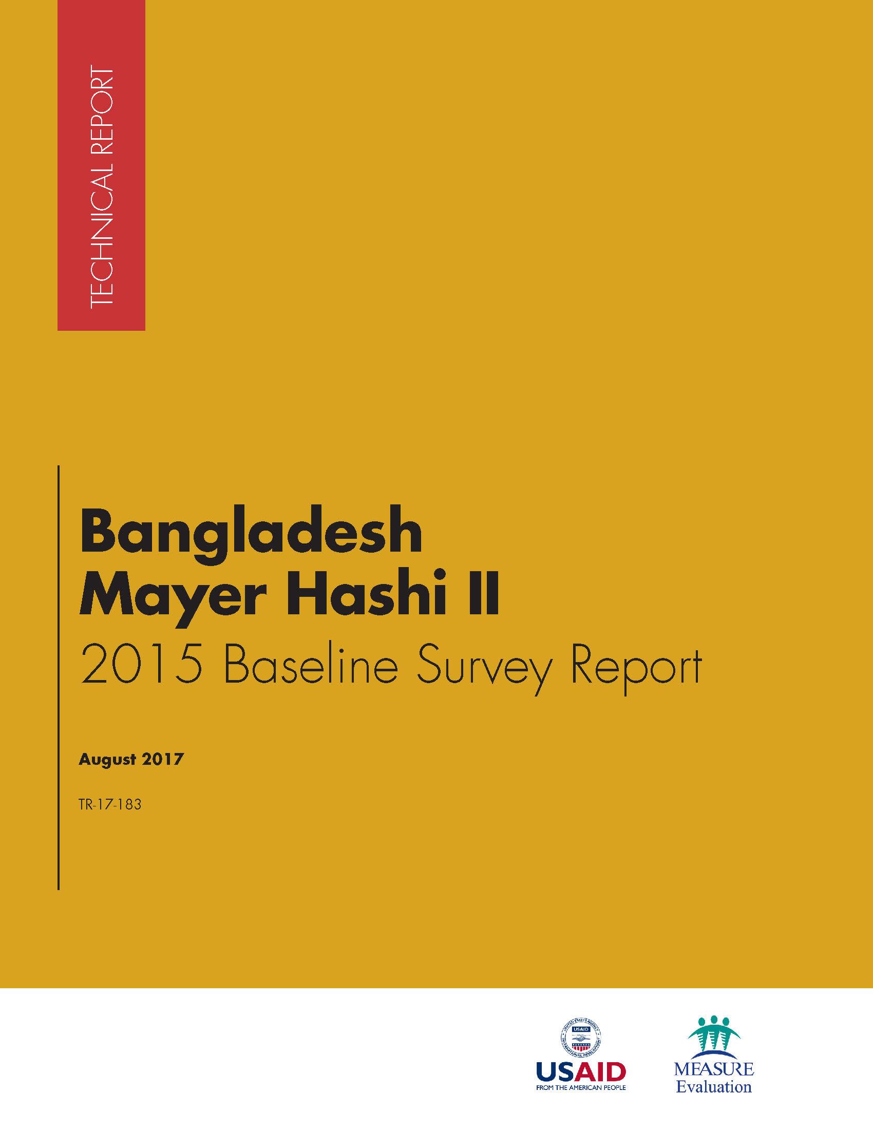 Bangladesh Mayer Hashi II  2015 Baseline Survey Report