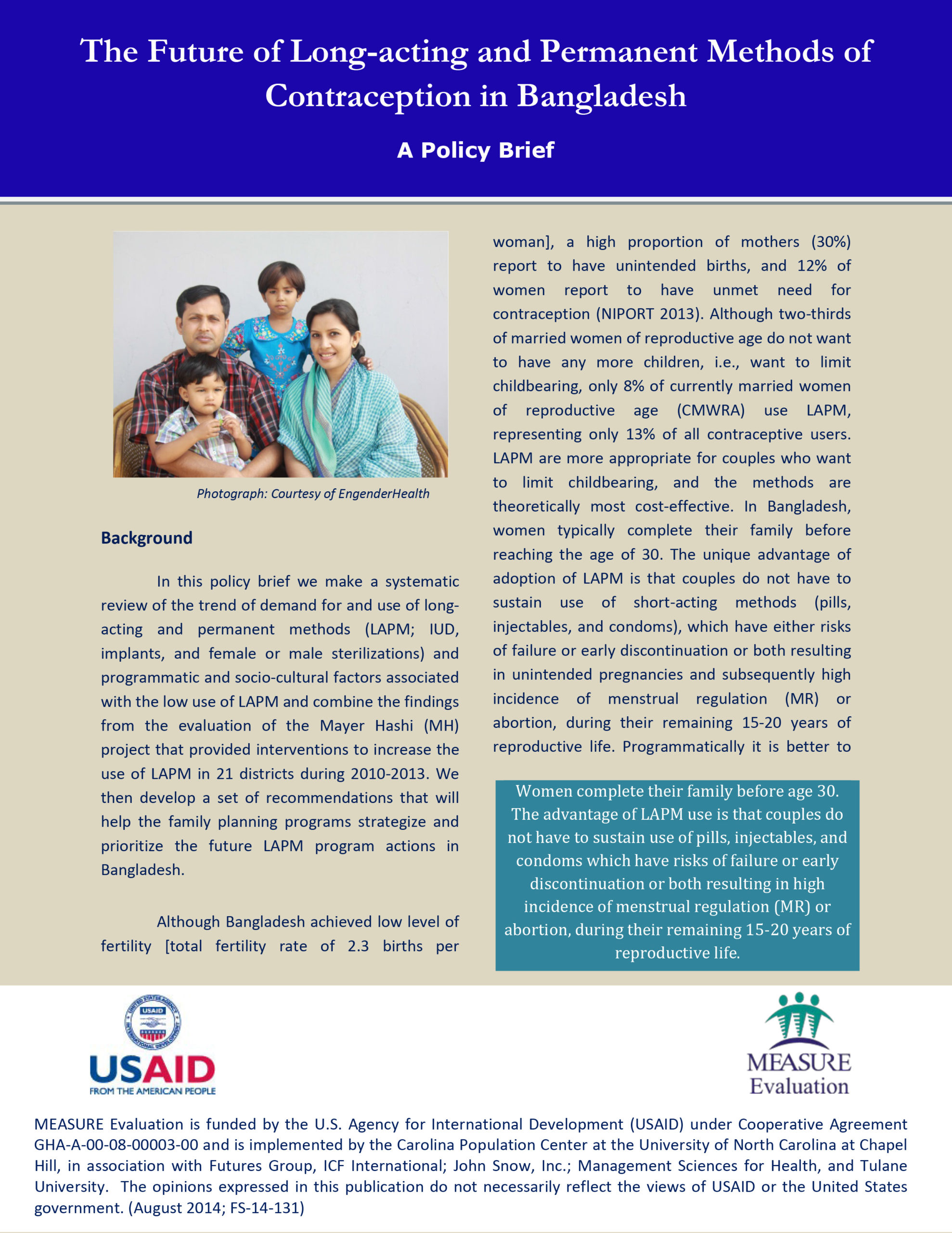 The Future of Long-Acting and Permanent Methods of Contraception in Bangladesh: A Policy Brief